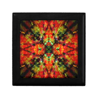 Red kaleidoscope star pattern gift box