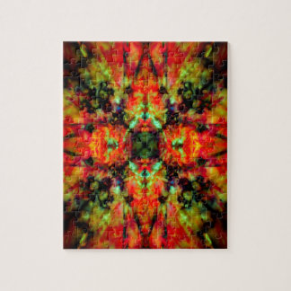 Red kaleidoscope star pattern jigsaw puzzle