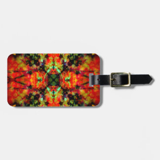Red kaleidoscope star pattern luggage tag