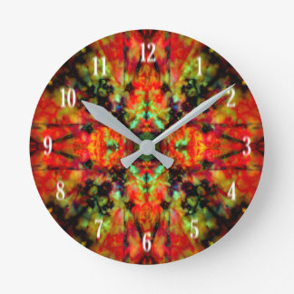 Red kaleidoscope star pattern round clock