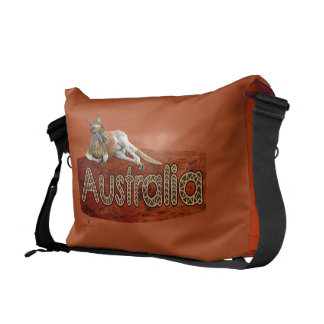 Red Kangaroo In Slouch Hat Courier Bags