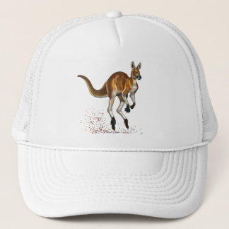 red kangaroo trucker hat