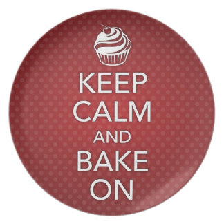 Red Keep Calm and Bake On Plate