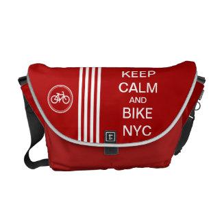 Red KEEP CALM AND BIKE NYC Monogram Racing Stripe Courier Bag