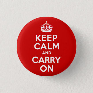 Red Keep Calm and Carry On 1 Inch Round Button