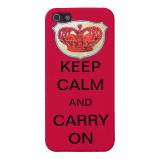 "RED ""KEEP CALM AND CARRY ON"" CROWN CASE iPhone 5 COVER"