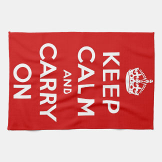 Red Keep Calm And Carry On Kitchen Towel