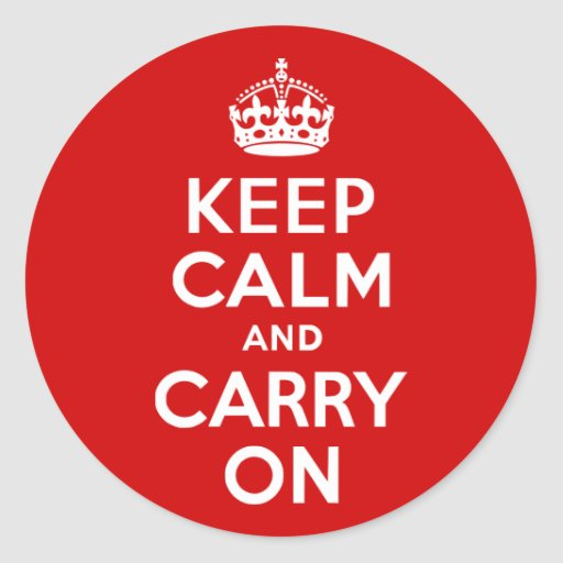 Red Keep Calm and Carry On Stickers