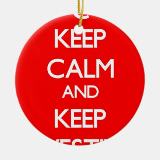 Red Keep Calm and Keep Investing Round Ceramic Ornament