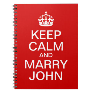 Red Keep Calm and Marry Groom Notebook