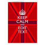 Red Keep Calm And Your Text on Union Jack Flag
