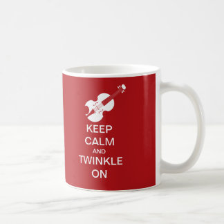 Red Keep Calm Twinkle On Violin Coffee Mug