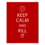 Red Keep Calm Volleyball Poster