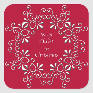 Red Keep Christ in Christmas Sticker