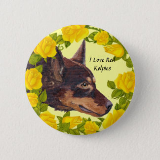 Red Kelpies and Yellow Roses 2 Inch Round Button