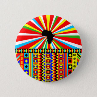 Red Kente Cloth Pattern African Print 2 Inch Round Button