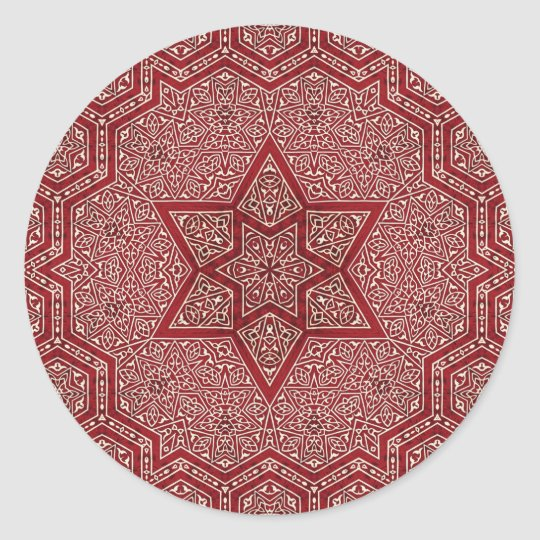 red khayameya classic round sticker