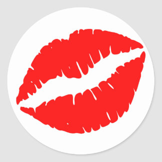 Red Kiss Round Sticker