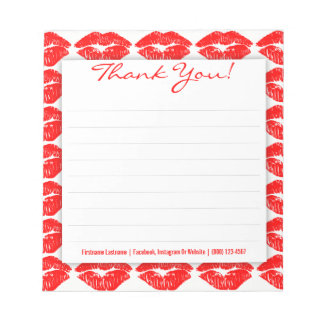 Red Kisses on White - Custom Thank You Notepad