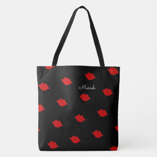 red kisses with your name on black tote bag