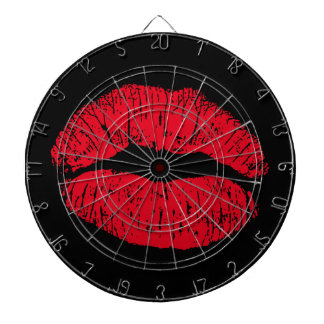 Red Kissing Lips on Black Dartboard