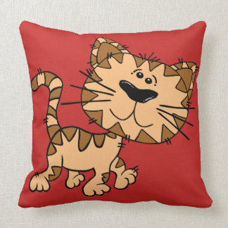 Red Kitty Cat | Kid's Decorative Throw Pillow