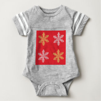 Red Knitted Snowflake Baby Bodysuit