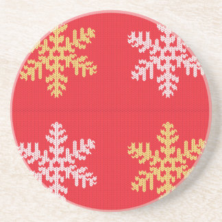Red Knitted Snowflake Beverage Coasters