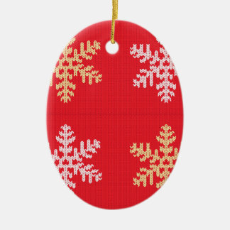 Red Knitted Snowflake Ceramic Ornament