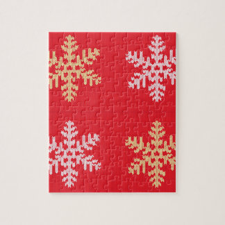 Red Knitted Snowflake Jigsaw Puzzle