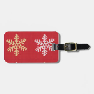 Red Knitted Snowflake Luggage Tag