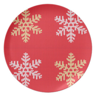 Red Knitted Snowflake Plate