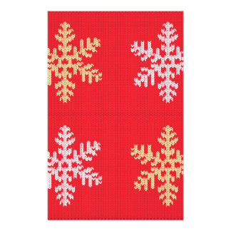 Red Knitted Snowflake Stationery Design
