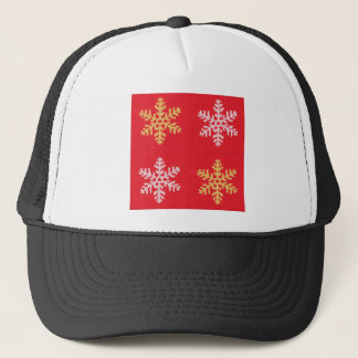 Red Knitted Snowflake Trucker Hat