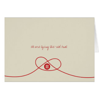 Red Knot Double Happiness Chinese Wedding Card