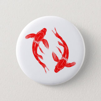 Red Koi Fish 2 Inch Round Button
