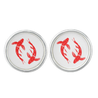 Red Koi Fish Carp Cuff Links