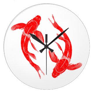 Red Koi Fish Large Clock