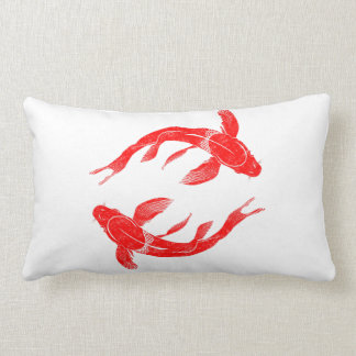 Red Koi Fish Lumbar Pillow