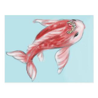 Red Koi Fish Postcard