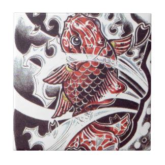 Red Koi Tattoo Design Tile