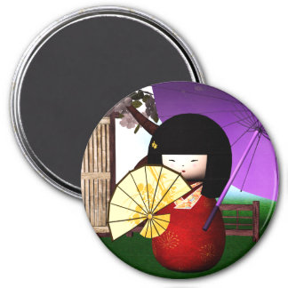Red Kokeshi Doll Art Magnet