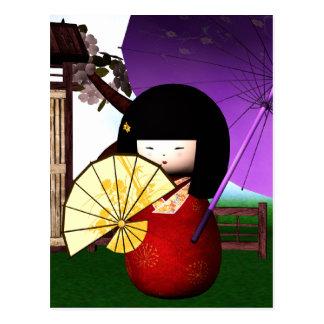 Red Kokeshi Doll Art Postcard