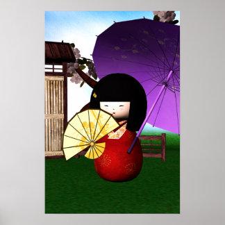 Red Kokeshi Doll Art Poster