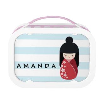 RED Kokeshi Doll - Cute Japanese Geisha Girl Lunch Box