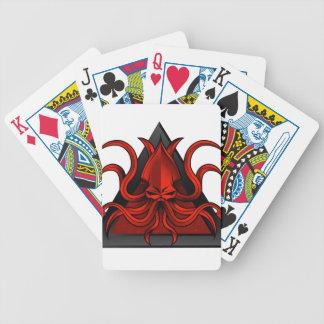 red kraken illustration bicycle playing cards
