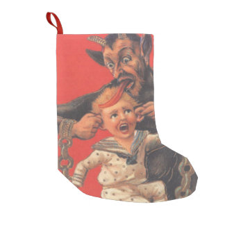 Red Krampus Pulling Boys Ears Small Christmas Stocking