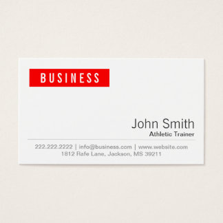Red Label Athletic Trainer Business Card