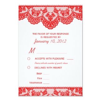 "Red Lace and White RSVP with Meal Options 3.5"" X 5"" Invitation Card"