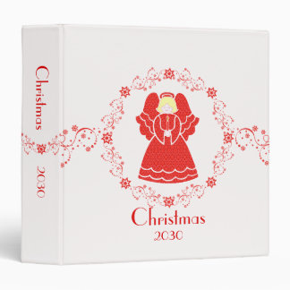 Red Lace Angel 1.5 Inch Christmas Vinyl Binder